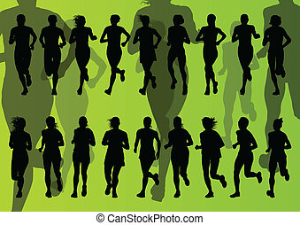 Marathon runners vector background for poster