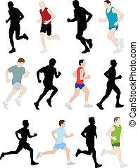 marathon runners - vector illustration