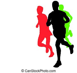 marathon runners with copy space