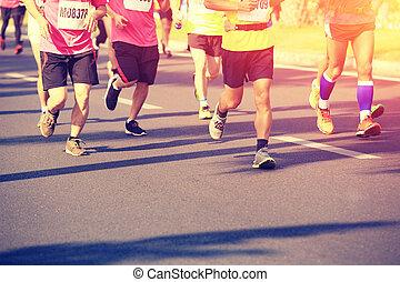 Marathon running race - Marathon running race, people feet...