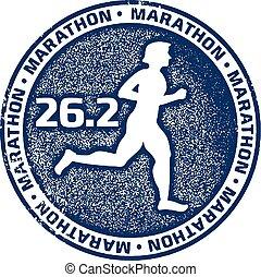 Marathon Running Sport Stamp