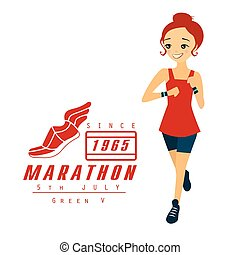 Marathon Running Woman Cartoon Illustration