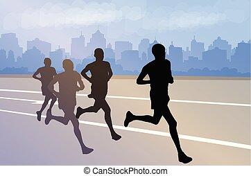 marathon, silhouettes, printgroup, fond, ville, coureurs, résumé
