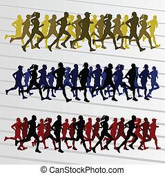 marathon, silhouettes, vecteur, courant, coureurs