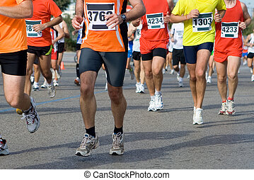 Marathon - Runners in a Marathon with Motion Blur