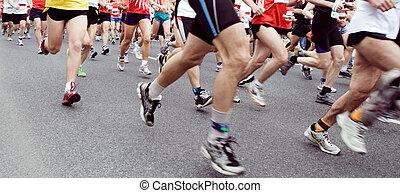 marathon, uitvoeren, renners, ont, hij