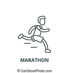 Marathon vector line icon, linear concept, outline sign, symbol