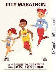 Marathon vector runner people running jogging background sportsman man woman character fitness training backdrop sport workout illustration wallpaper