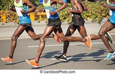marathonläufer, rennender , auf, stadt- straße