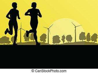 maraton, natura, okolica, ilustracja, wektor, generatory, las, tło, dziki, wiatr, biegacze, krajobraz, kobiety