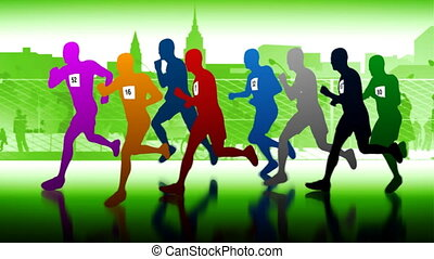 maraton, runners.