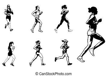 maraton, rys, biegacze, ilustracja, samica
