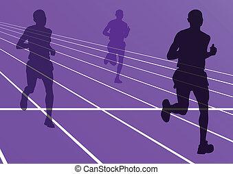 maraton, sylwetka, wektor, wyścigi, biegacze