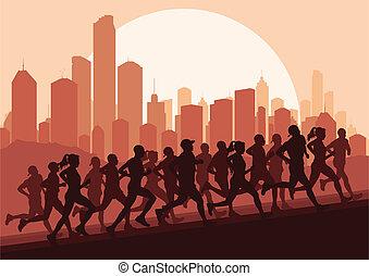 maraton, wektor, biegacze, tło