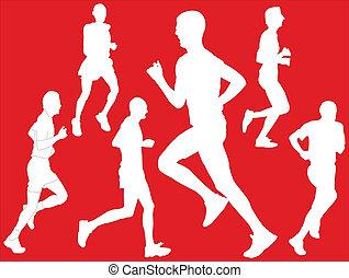 maratona, com, fundo, -, vetorial