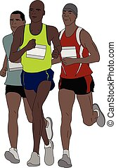 maratona, grupo, corredores, ilustração