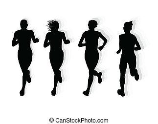 maratona, vetorial, corredores, fundo