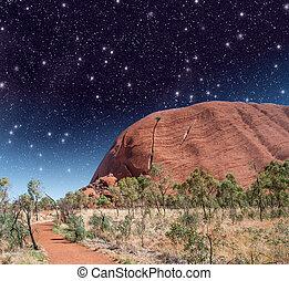 maravilhoso, estrelado, noite, outback australiano