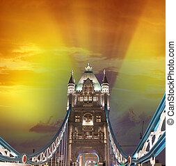 maravilhoso, pôr do sol, cores, sobre, ponte torre, em, londres, reino unido