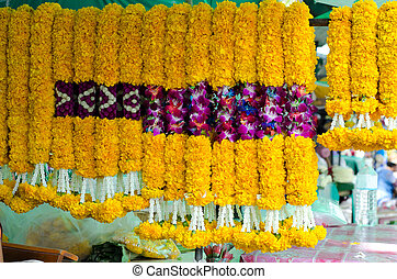 maravilla, guirnaldas, en, mercado de flor, tailandia