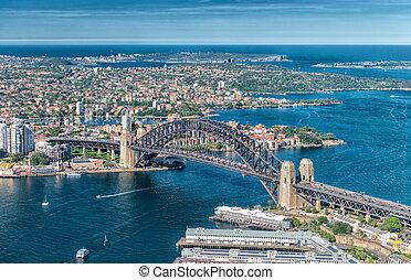 maravilloso, aéreo, puerto de sydney, vista