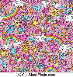 maravilloso, arco irirs, doodles, patrón