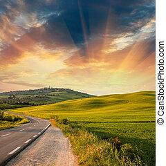 maravilloso, campos, con, primavera, ocaso, colores
