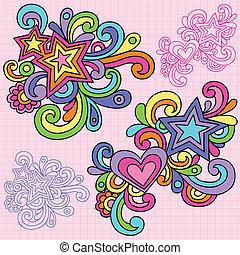 maravilloso, corazón, conjunto, estrella, doodles