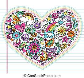 maravilloso, corazón, vector, amor, doodles