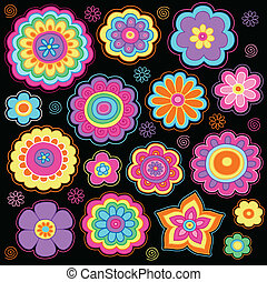 maravilloso, doodles, flor, conjunto, potencia