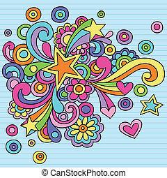 maravilloso, doodles, remolinos, vector, estrella