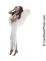 maravilloso, girl-angel, aislado, blanco, fondo