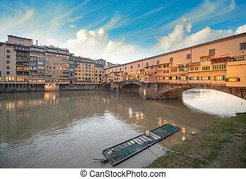 maravilloso, ocaso, colores, en, florencia, con, arno río, y, ponte vecchio, bridge.