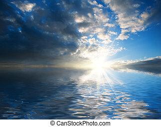 maravilloso, ocaso, reflejado, paisaje, Océano
