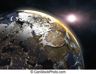 maravilloso, salida del sol, encima, la tierra, -, europa