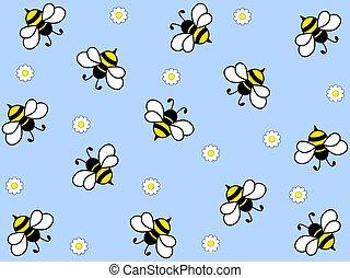 maravilloso, trabajador, diseño, abejas