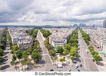 maravilloso, vista aérea, de, parís, calles, de, triunfo, arco