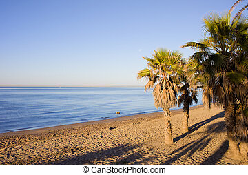 Marbella Beach on Costa del Sol in Spain - Early morning on...