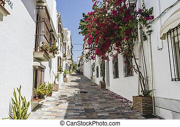 marbella, straten, andalucia, balkons, andalusian, bloemen, spanje, typisch