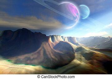 MARBELLA SYSTEM - Mountainous landscape on a futuristic...