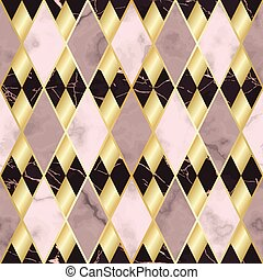 Marble and Gold Luxury Geometric Seamless Pattern
