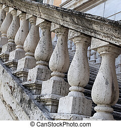 Marble balusters. Abstract classical architecture