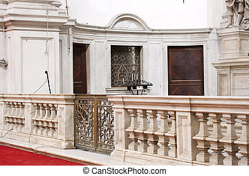 Marble balustrade in a church