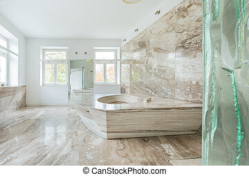 Marble bathroom in expensive house - View of marble bathroom...