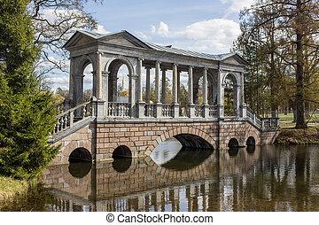 Marble bridge in park