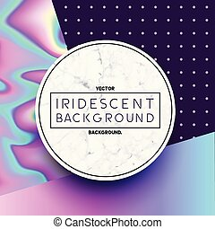 Marble Circle with Iridescent Holographic Background