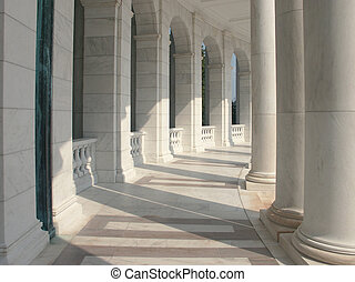 Marble Columns - A curved row of pillars joined with an...