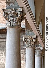 Marble columns. City Hall. Ferrara. Emilia-Romagna. Italy.