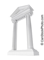marble columns isolated on a white