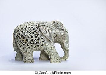 marble elephant statue on white background